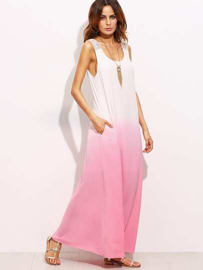 Ombre Tie Back Sleeveless Maxi Dress
