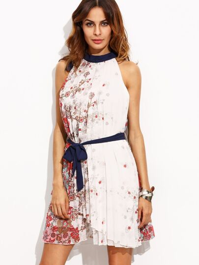 Multicolor Print Pleated Tie Waist Sleeveless Dress