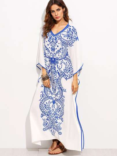 Blue Print in White V Neck Batwing Sleeve Maxi Dress