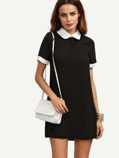 Black Peter Pan Collar Short Sleeve Shift Dress