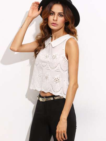 Beige Lapel Hollow Sleeveless Crop Top
