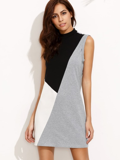 Color Block High Neck Zipper Back Sleeveless Shift Dress