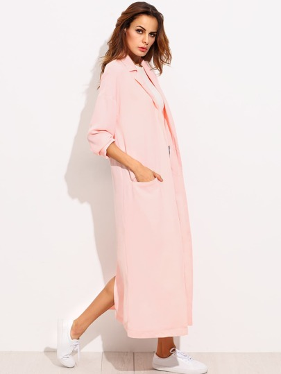 Pink Lapel Pocket Split Back Long Outerwear