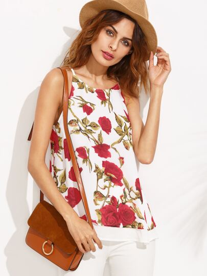 Floral Print Double Layer Hem Cami Top