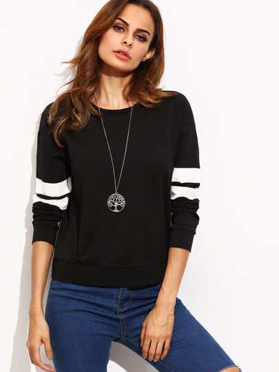 Black Round Neck Striped Long Sleeve Sweatshirt