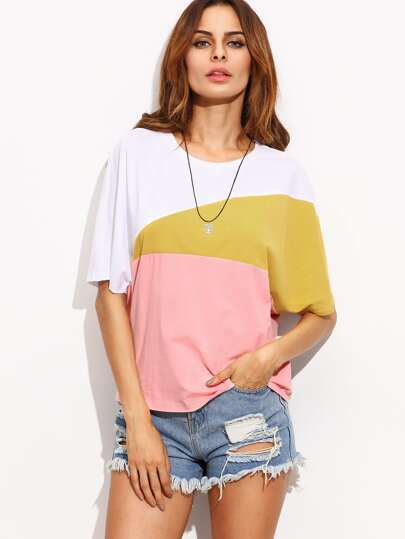 Color Block Round Neck Short Sleeve T-shirt