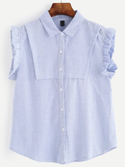 Blue Striped Sleeveless Ruffle Blouse