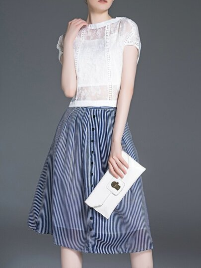 White Blue Bowknot Three Pieces Top With Striped Skirt