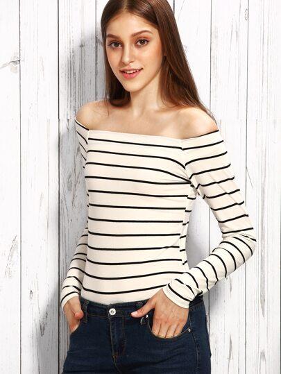 White Stripe Off The Shoulder T-shirt