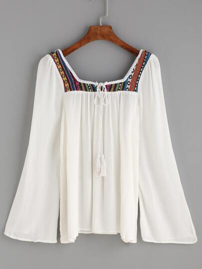 White Tassel Tie Long Sleeve Embroidered Blouse