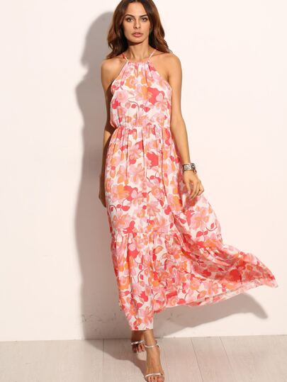 Halter Florals High Low Tie Back Ruffle Dress