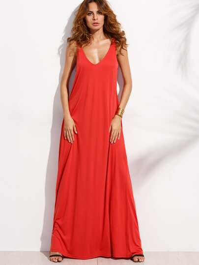 Red Deep V Neck Sleeveless Knitted Shift Maxi Dress