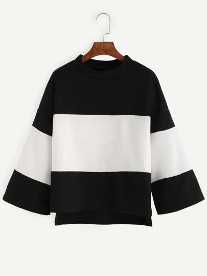 Contrast Drop Shoulder High Low Oversized T-shirt