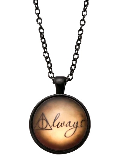 Black Letter Print Glass Pendant Necklace
