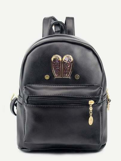 Black Metal Rabbit Ear Embellished Backpack