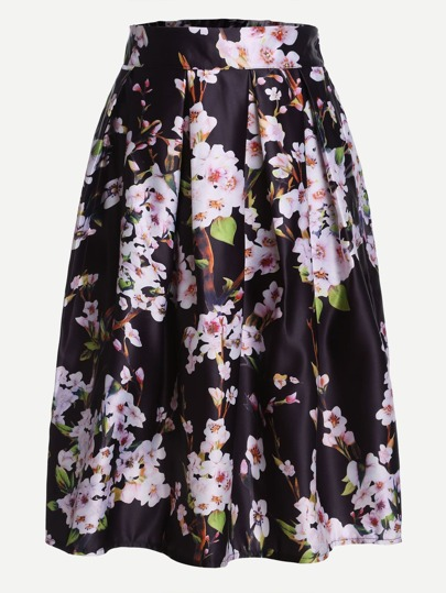 Black Peach Blossom Print Box Pleated Skirt