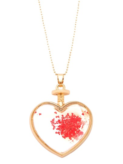 Red Floral Print Heart Pendant Necklace