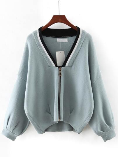 Green V Neck Zipper Front Sweater