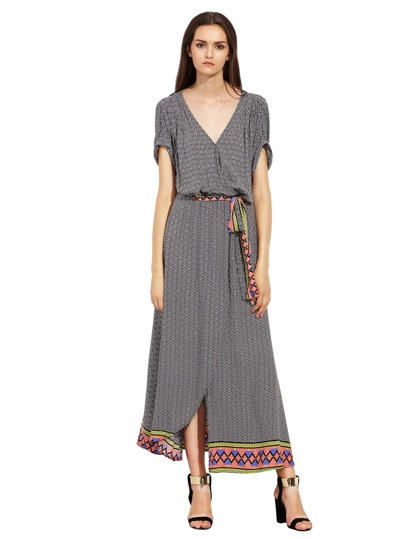 Rolled Sleeve Geometric Print Split Maxi Dress