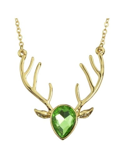 Green Rhinestone Deer Pendant Necklace