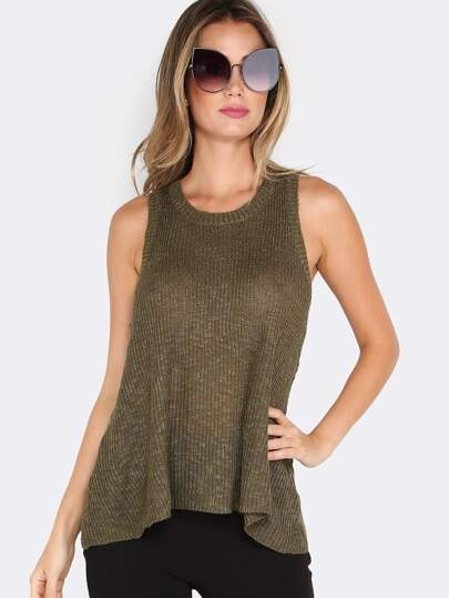 Loose Knit A-line Top OLIVE