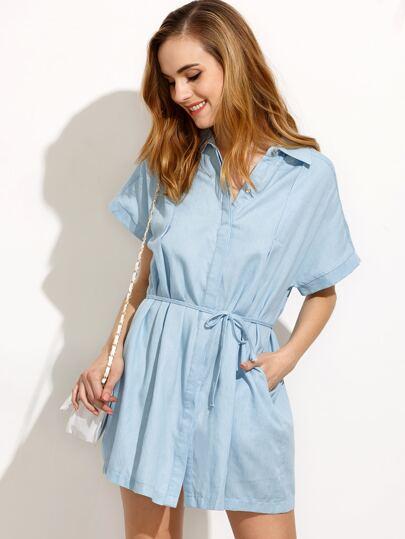 Blue Drawstring Waist Denim Shirt Dress