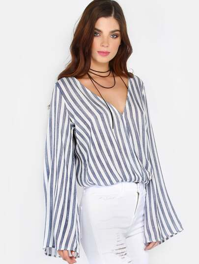 Long Sleeve Stripe Surplice Top WHITE MULTI