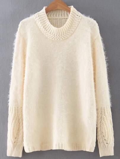 Beige Round Neck Plain Sweater