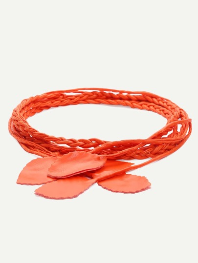 Orange Leaf Tassel Braided Wrap Belt
