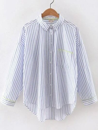 Blue And White Mix Stripe High Low Pocket Blouse
