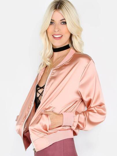 Silky Zip Up Bomber Jacket PINK