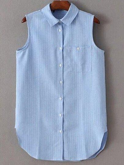 Blue Lapel Striped Buttons Blouse