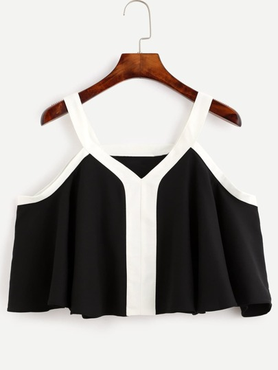 Black Cold Shoulder Contrast Trim Ruffle Blouse