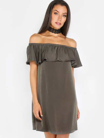 Bardot Silky Ruffle Dress OLIVE