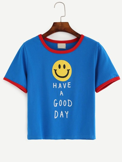 Blue Contrast Trim Smile Face Slogan Print T-shirt