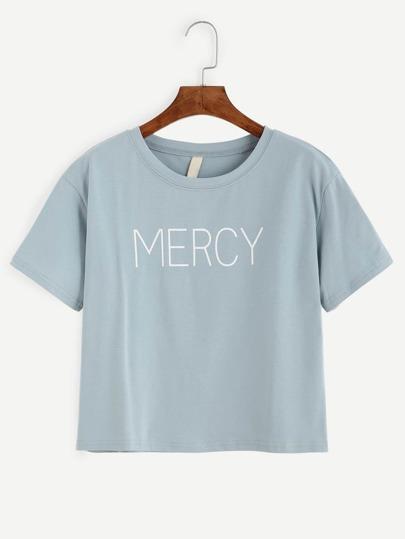 Blue Letter Print T-shirt