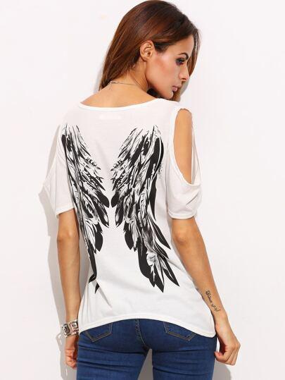 T-shirt épaules nues imprimé motif ailes - ivoire