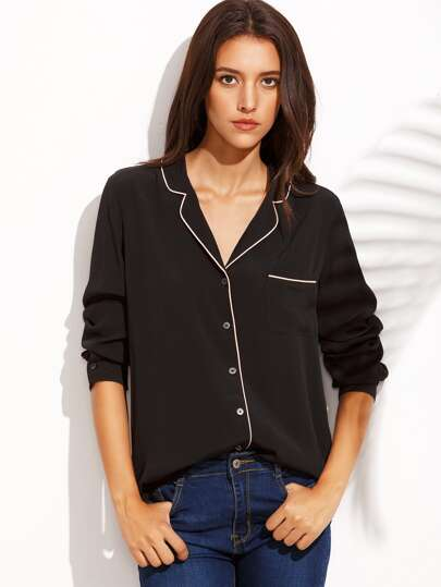 Black Lapel Button Front Long Sleeve Blouse