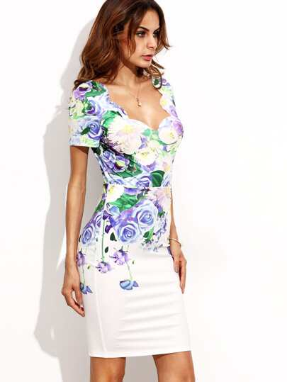 Floral Print Scallop Trim V Back Short Sleeve Dress