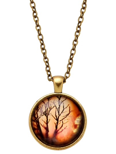 Bronze Black Tree Print Glass Pendant Necklace