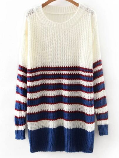 White Round Neck Stripe Long Knitwear