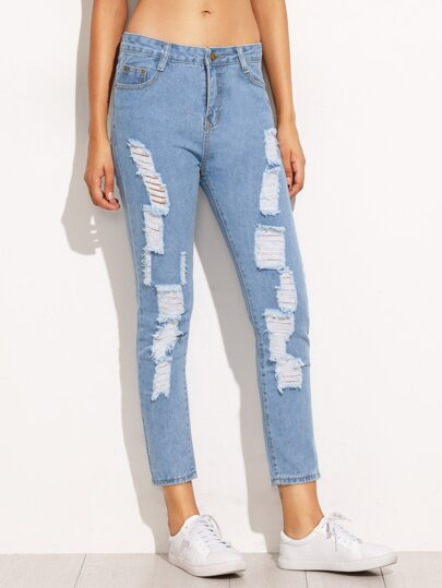 Blue Ripped Skinny Ankle Jeans