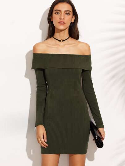 Army Green Off The Shoulder Long Sleeve Sheath Dress
