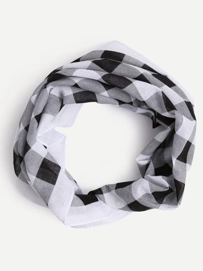 Black White Checkerboard Print Square Scarf