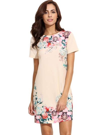 Khaki Round Neck Floral Print Vintage Dress