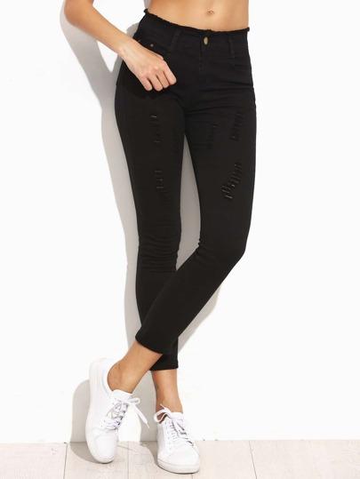 Skinny Jeans mit ausgefransten Design - schwarz