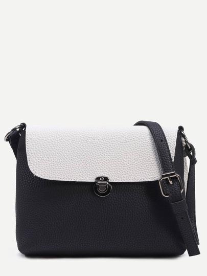 Black Tassel Trim Contrast Flap Pebbled Crossbody Bag