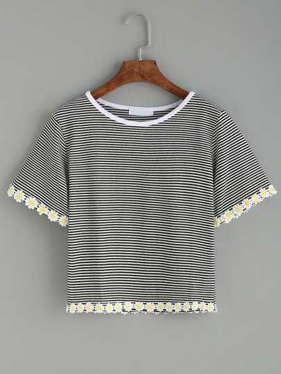 Black Striped Daisy Crochet Trim T-shirt