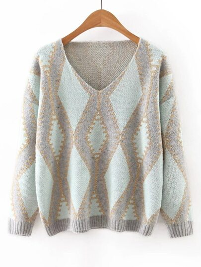 Green V Neck Geometric Printed Sweater