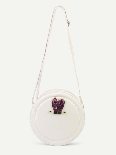White Metal Rabbit Ear Embellished Round Crossbody Bag